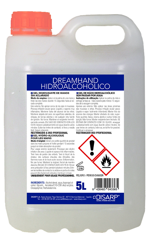 Foto de una garrafa de 5 litros de Dreamhand Hidroalcohólico